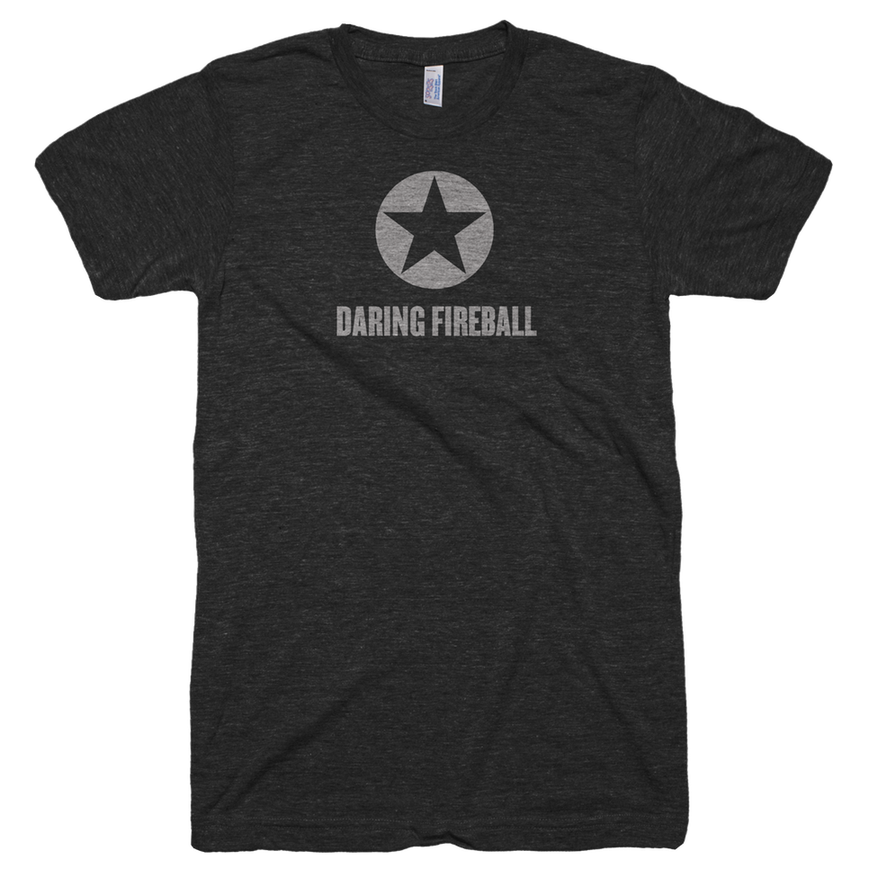 Thumbnail of an athletic gray t-shirt with 'Daring Fireball' printed in a baseball-style script.