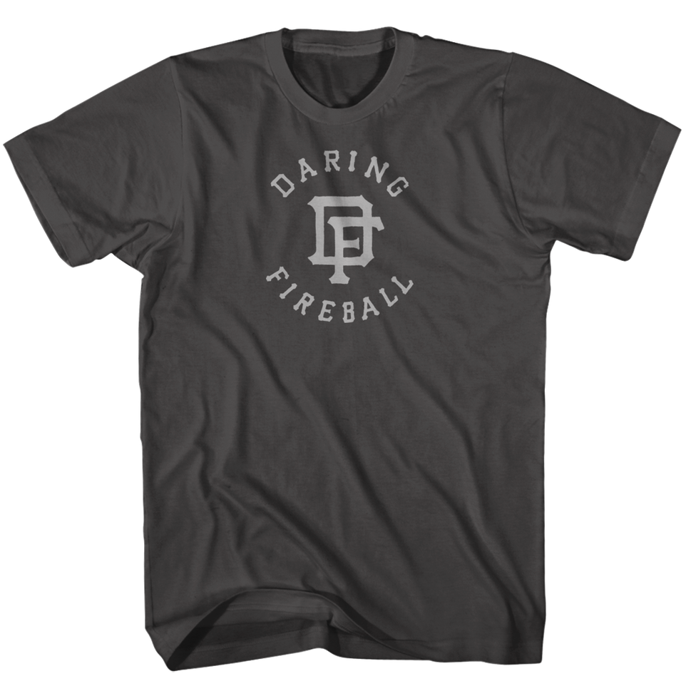Thumbnail of an asphalt gray Daring Fireball baseball t-shirt with a hand-lettered 'DF' monogram design.