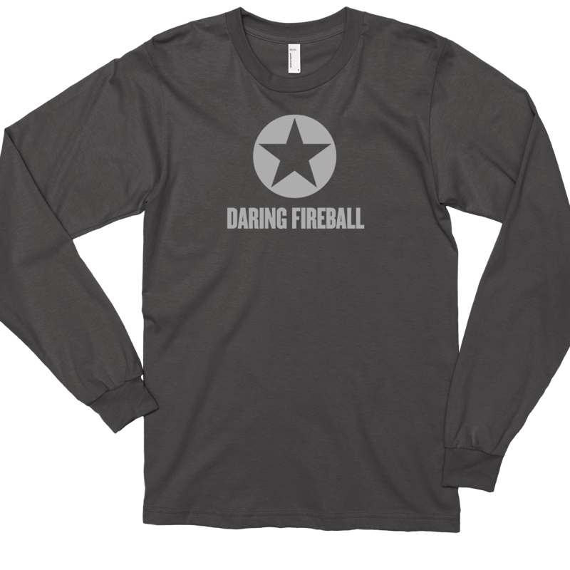 Thumbnail of an asphalt gray long sleeve Daring Fireball shirt.