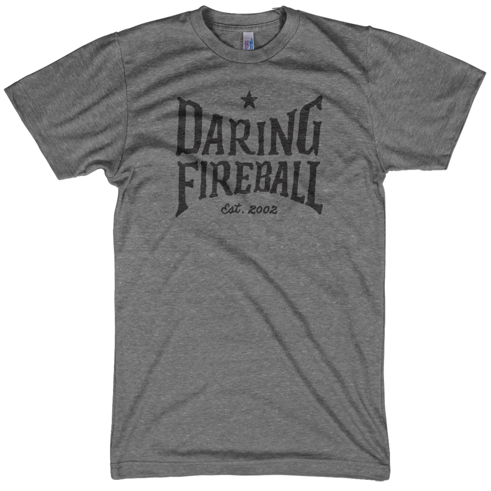An athletic gray Daring Fireball t-shirt, hand-lettered design.