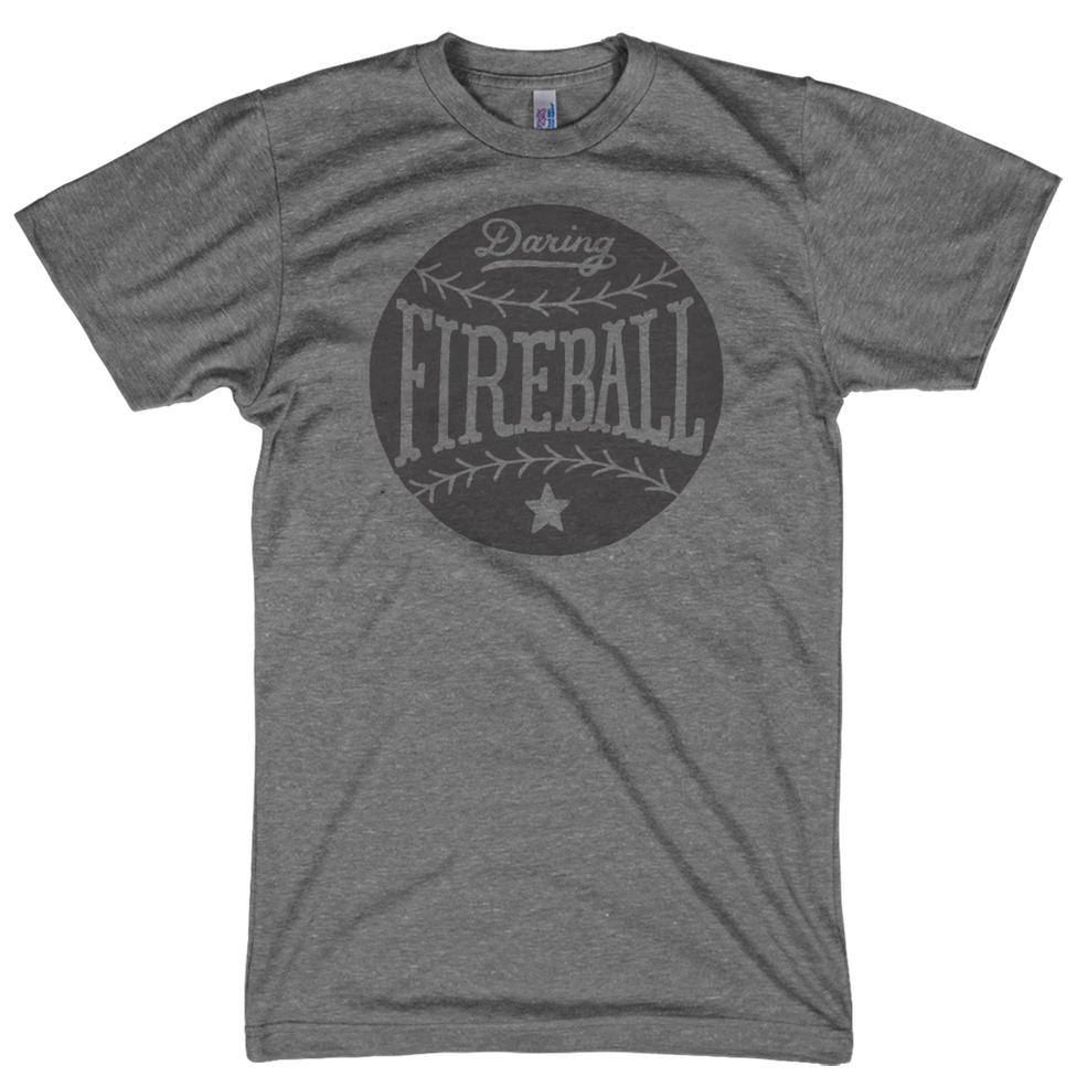 Thumbnail of a slate gray Daring Fireball baseball t-shirt.