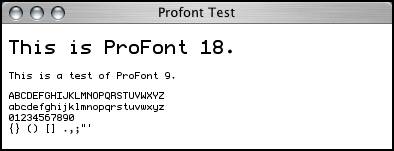Screenshot of ProFont 9 in Safari.