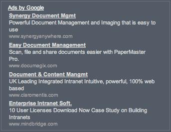 Camino screenshot of Google ads.