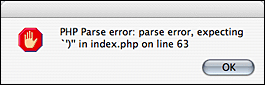 Screenshot of PHP error in an alert dialog.