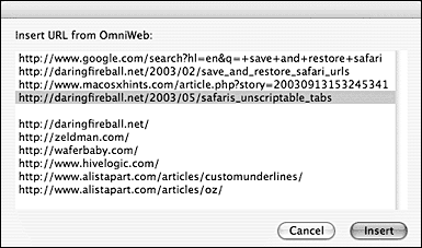 Screenshot: Insert URL from OmniWeb dialog box