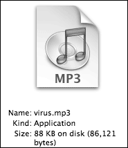 'virus.mp3' as displayed in the Finder's column view