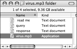 'virus.mp3' as displayed in the Finder's list view