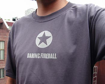 The author wearing a Daring Fireball T-shirt.