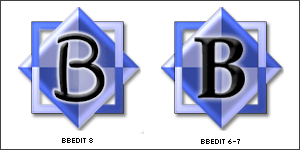 BBEdit 8 and 7 icons, side-by-side.