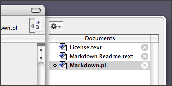 BBEdit 8 Documents drawer.