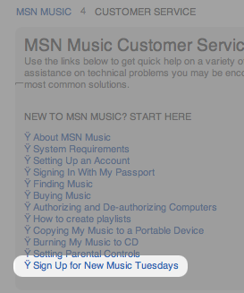 "Microsoft's ""New Music Tuesdays"" newsletter."