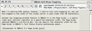 Screenshot of BBEdit 8's Page Guide.