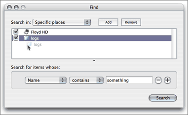 "The ""Specific places"" panel of the Finder's Find dialog."