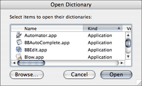 Script Editor's Open Dictionary dialog box shows '.app' file extensions