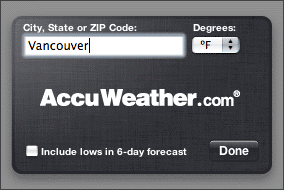 Screenshot of the Weather widget, after typing 'Vancouver'.