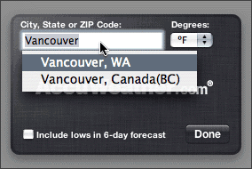 Choosing between 'Vancouver, WA' and 'Vancouver, Canada(BC)'.