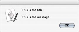 Screenshot of show_alert() output on Mac OS X 10.3