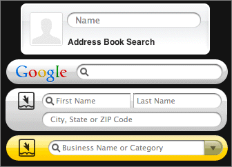 Screenshot of the new Address Book, Google, People, and Business widgets, side-by-side.