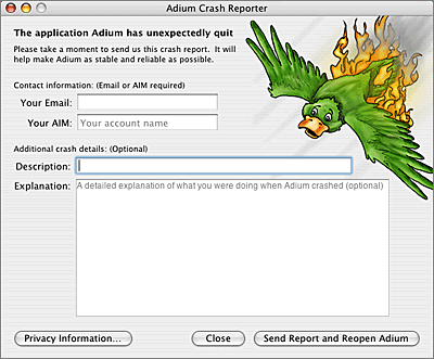 Screenshot of Adium's crash reporter dialog, which features an illustration of a burning duck careening toward the ground.