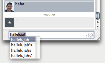 Screenshot of the auto-complete feature in iChat