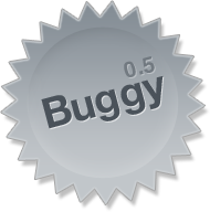 Starburst-shaped badge that reads 'Buggy'.