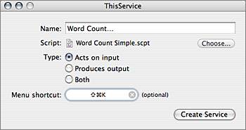 Screenshot of ThisService with configuration for Word Count Service.