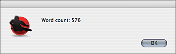 Screenshot of Word Count dialog box in action.