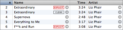 List view of several Liz Phair songs badged 'Explicit' and 'Clean' at the iTunes Store.