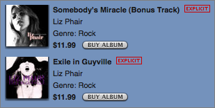 Promotional view of two Liz Phair albums badged 'Explicit' at the iTunes Store.