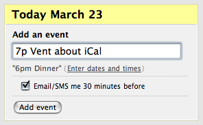 Screenshot of event entry fields for Basecamp