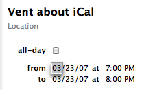 Screenshot of event entry fields in iCal 2.0.5