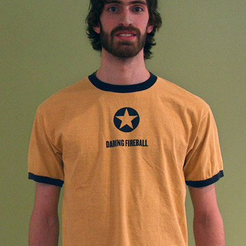 Mustard yellow DF t-shirt with navy trim.