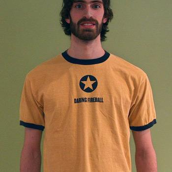 Mustard yellow DF t-shirt with navy trim.