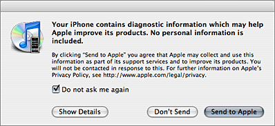 iTunes 7.3 dialog box for iPhone crash reports