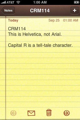 Screenshot of iPhone Notes app displaying Helvetica as the text font.