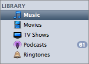 iTunes source list with new Ringtones sub-library.