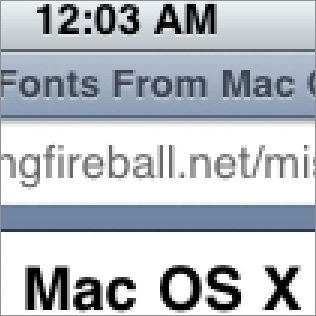 Screenshot of MobileSafari on iPhone OS X 1.0.2 at 300 percent magnification