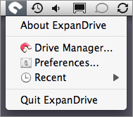 Screenshot of ExpanDrive's system-wide menu.