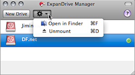 Screenshot of ExpanDrive's context menu for mounted drives.