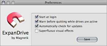 Screenshot of ExpanDrive's Preferences window.