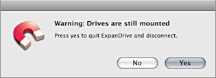 Screenshot of ExpanDrive warning dialog.