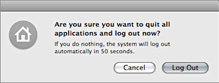 Screenshot of Mac OS X's log out confirmation dialog.