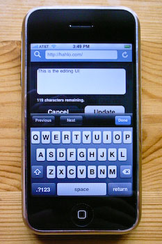 An iPhone displaying Hahlo's posting interface.