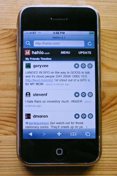 An iPhone displaying Hahlo's tweet list.