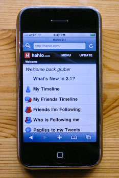 An iPhone displaying Hahlo's home screen menu.