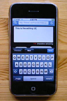 An iPhone displaying iTweet's posting interface.