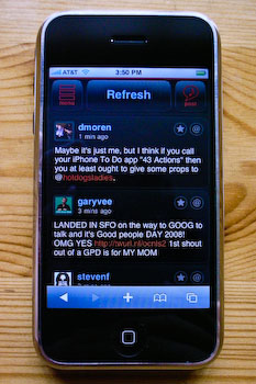 An iPhone displaying iTweet's tweet list.