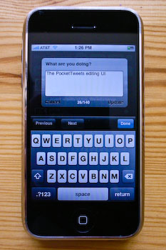 An iPhone displaying PocketTweets's posting interface.