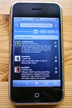 An iPhone displaying PocketTweets's tweet list.
