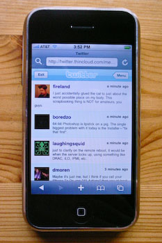 An iPhone displaying Thincloud's tweet list.